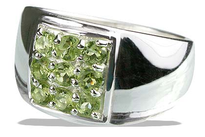 Design 13230: green peridot mens rings