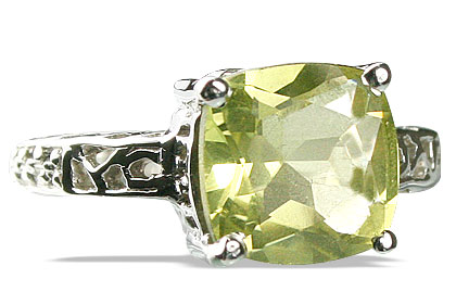 Design 13691: green,yellow lemon quartz staff-picks rings