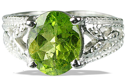 Design 13707: green peridot rings