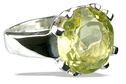 Design 13772: green,yellow lemon quartz rings