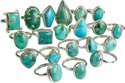 Design 14040: blue,green bulk lots rings