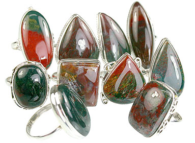 Design 14046: green,red,multi-color bloodstone rings