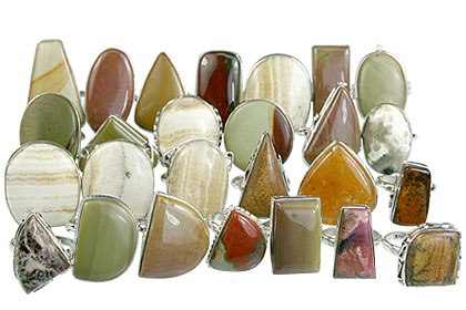 Design 14047: multi-color jasper rings