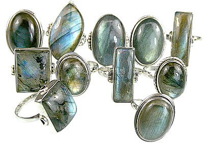 Design 14051: blue,gray labradorite rings