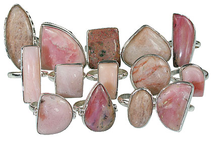 Design 14061: pink,white rhodocrosite rings