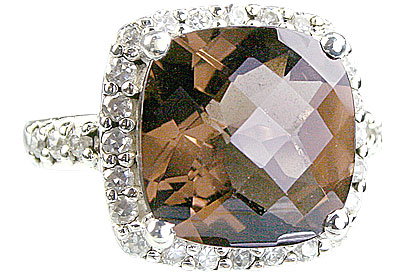 Design 14140: brown,white smoky quartz vintage rings