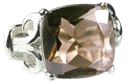Design 14188: brown smoky quartz mens rings
