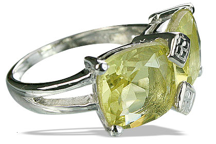 Design 14226: green,yellow lemon quartz contemporary rings