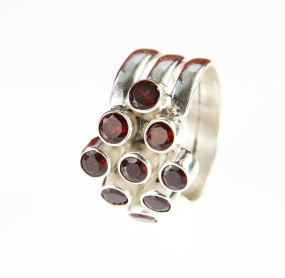 Design 14250: red garnet cocktail rings