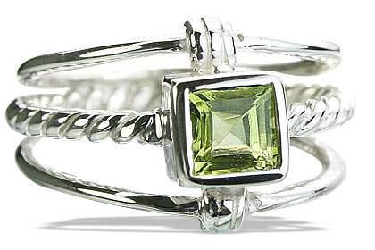 Design 14252: green peridot contemporary rings