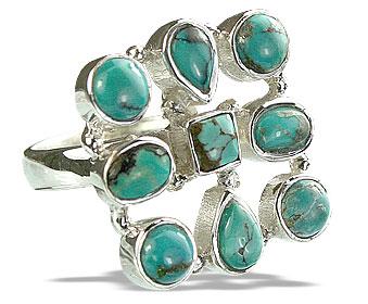 Design 14357: black,green turquoise estate rings