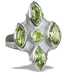 Design 14418: green peridot estate rings