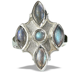 Design 14424: blue,gray labradorite estate rings