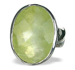 Design 14489: green prehnite mens rings