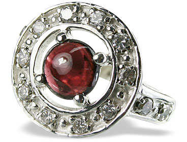Design 14573: red garnet engagement, estate rings