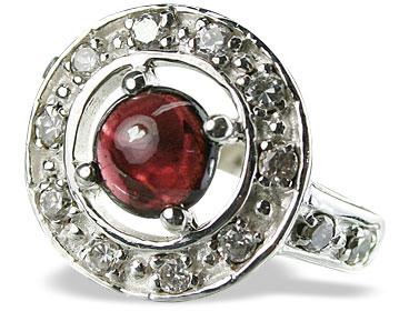 Design 14573: red garnet engagement, estate rings
