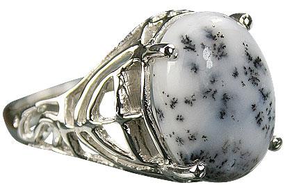 Design 14778: black,white dendrite opal rings