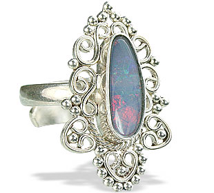 Design 15214: blue,multi-color opal flower rings