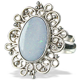 Design 15216: blue,multi-color opal flower rings