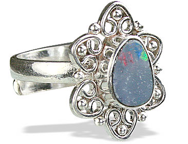 Design 15219: blue,multi-color opal flower rings
