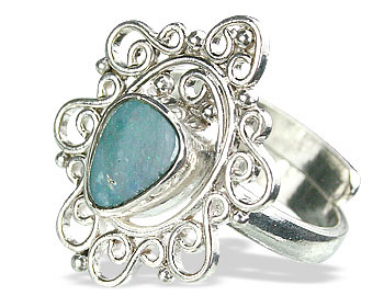 Design 15220: blue,multi-color opal flower rings