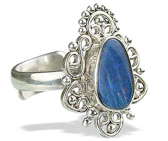 Design 15224: blue,multi-color opal flower rings