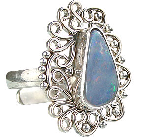 Design 15226: blue,multi-color opal flower rings