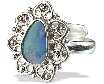 Design 15229: blue,multi-color opal flower rings