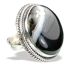 Design 15355: black,white onyx adjustable rings