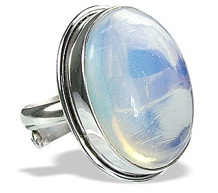 Design 15363: white opalite adjustable rings