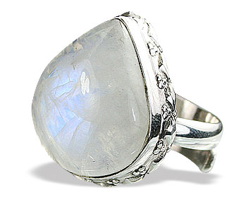 Design 15461: white moonstone adjustable rings