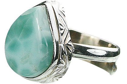 Design 15501: green larimar adjustable rings