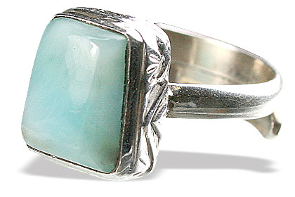 Design 15509: green larimar adjustable rings