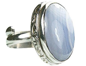 Design 15518: blue blue lace agate adjustable rings