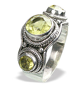 Design 15598: green lemon quartz brides-maids rings