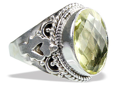 Design 15599: green lemon quartz brides-maids rings