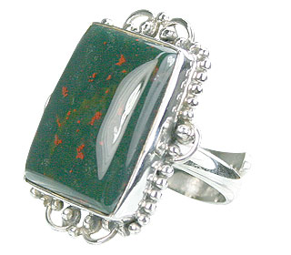 Design 15747: green bloodstone adjustable rings