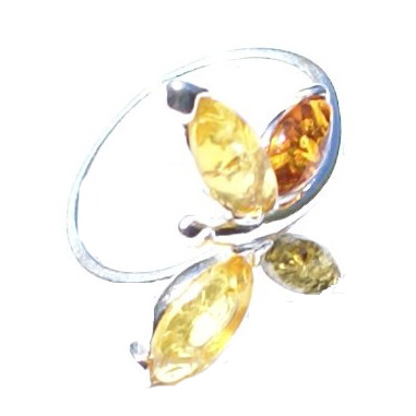 Design 15796: green,orange,yellow amber art-deco rings