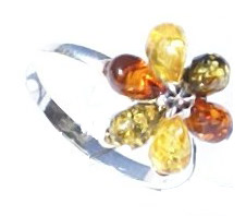 Design 15797: green,orange,yellow amber flower rings