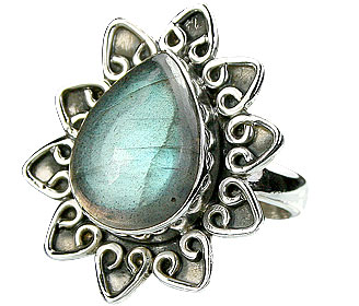 Design 15993: black,blue labradorite contemporary rings
