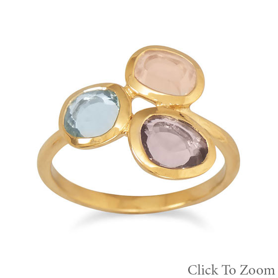 Design 21738: multi-color rose quartz brides-maids rings