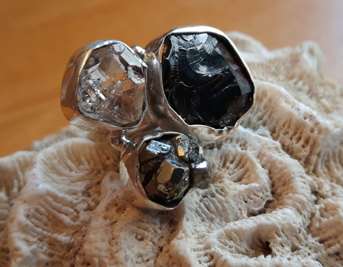 Design 22138: black,clear,gray herkimer diamond rings