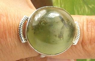 Design 7214: green prehnite american-southwest rings