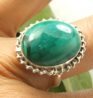 Design 7225: green malachite american-southwest rings