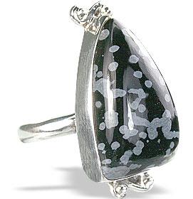 Design 7232: black,multi-color obsidian rings