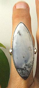 Design 7260: black,gray,white dendrite opal rings