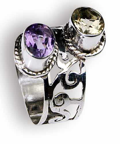 Design 8159: purple,yellow amethyst rings