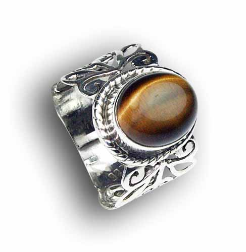 Design 8160: brown tiger eye gothic-medieval rings