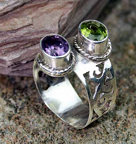 Design 8164: green,purple amethyst gothic-medieval rings