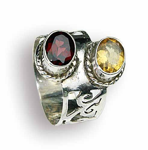 Design 8165: red,multi-color garnet gothic-medieval rings